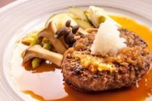 国産牛ハンバーグステーキ 和風おろしソース   肉汁あふれる国産牛のみを使ったハンバーグ。さっぱり大根おろしで。